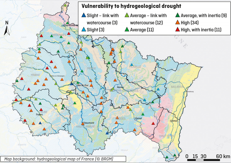 Monitoring of the piezometric network enabled a drought vulnerability map to be drawn up for the Grand-Est region. © BRGM